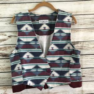 Vintage 90s Southwest Print Boho Button Vest
